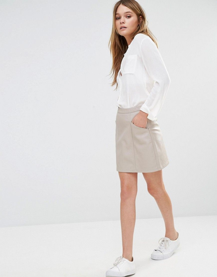Image 1 of New Look Leather Look Mini Skirt | ASOS | Pinterest ...