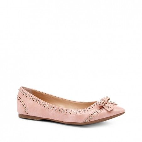 Pointed toe flat with stud and cutout detail finished with a delicate bow.