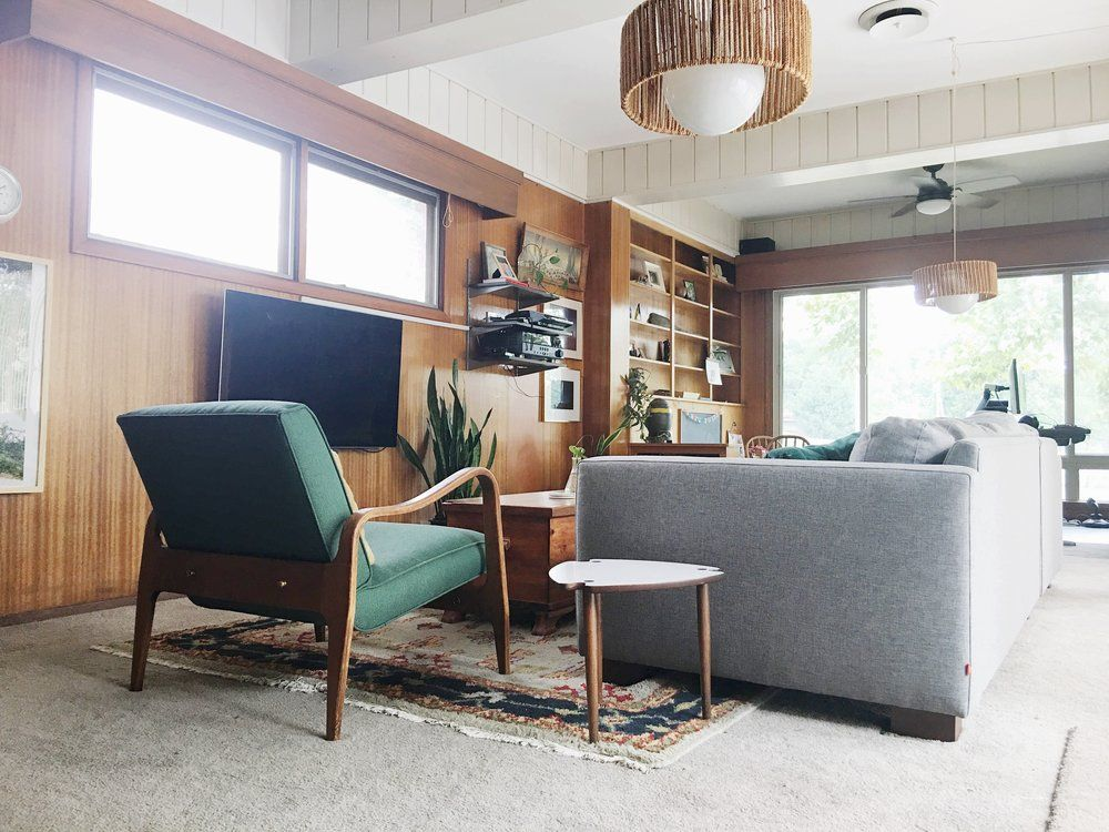 Cozy Collected Mid Century Modern Den Embracing Dated Original Wood Paneling Retro Den Vintage Furniture And Homewares Wood Paneling Living Room Mid Century Modern Wood Modern Interior Design