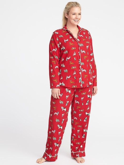 ab2307ab86 Printed Flannel Plus-Size Pajama Set that will keep you warm and  comfortable. affiliatelink