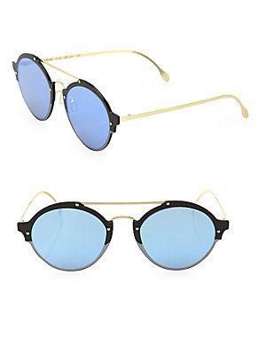 Illesteva Malpensa 53MM Mirrored Aviator Sunglasses - Matte Black