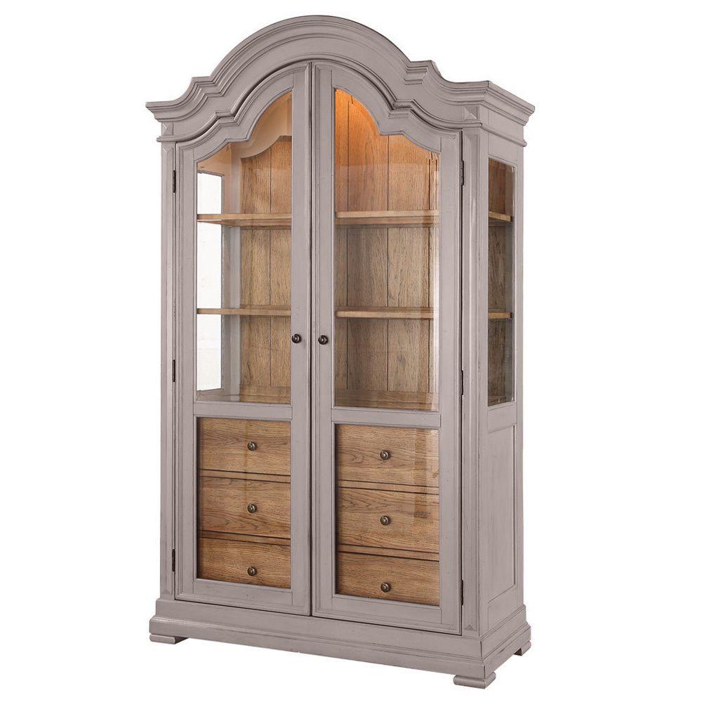 Dove Grey/ Brown Display Cabinet