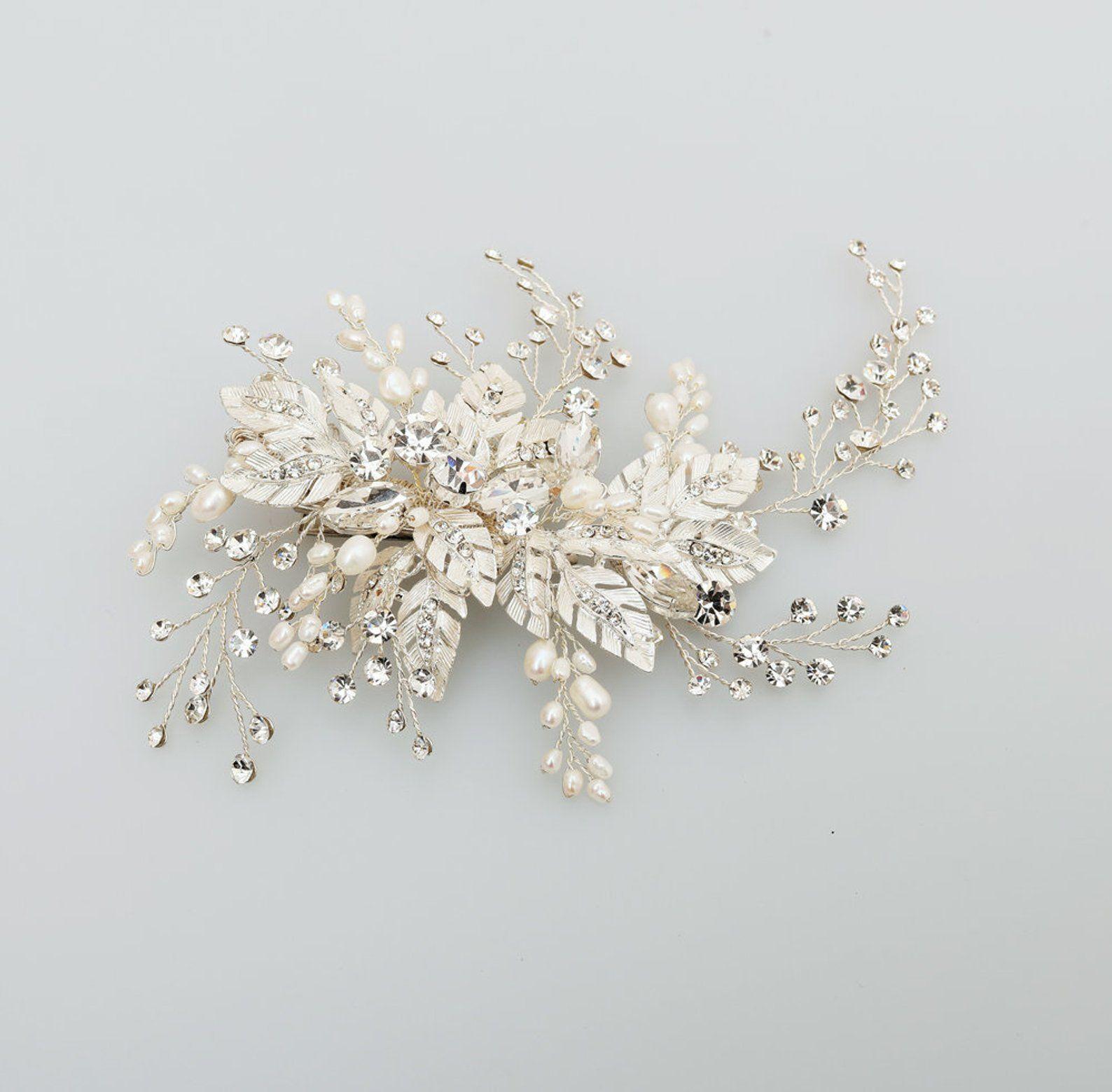 floral crystal hair clip, bridal hair piece, crystal wedding