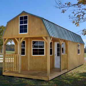 Derksen 12 X 32 Treated Wood Deluxe Lofted Barn Cabin Lofted Barn Cabin Portable Buildings Portable Cabins
