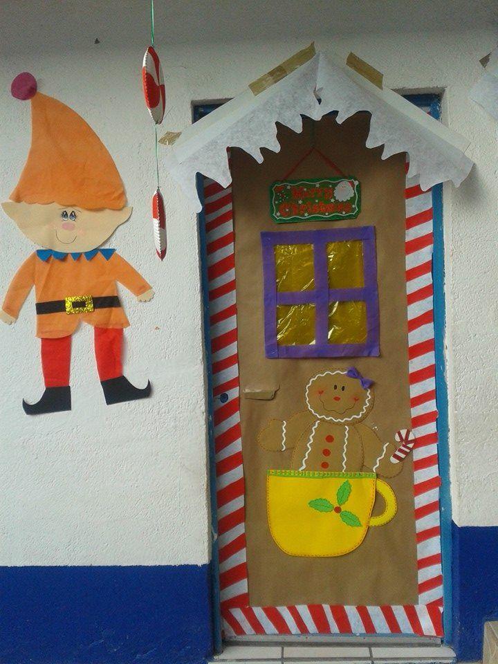 Puerta decorada navidad kinder for Puertas decoradas navidad material reciclable
