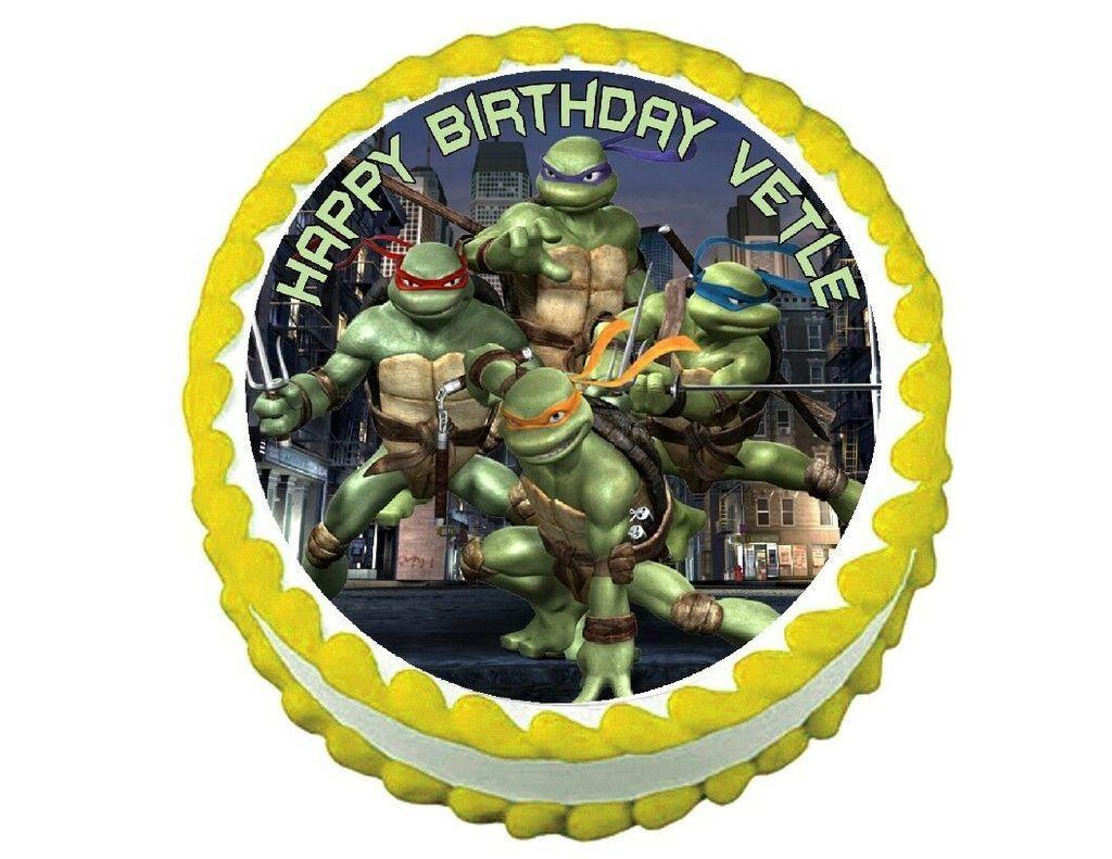 Tmnt Teenage Mutant Ninja Turtles Round Edible Frosting Cake Topper Decoration Ninja Turtle Cake Teenage Mutant Ninja Turtle Cake Edible Image Cake