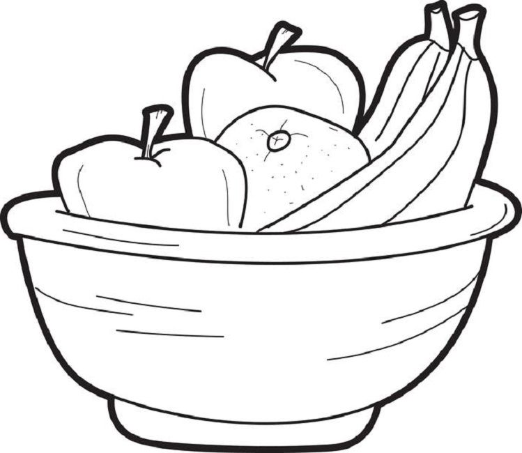 coloring page of fruit bowl Food Pinterest