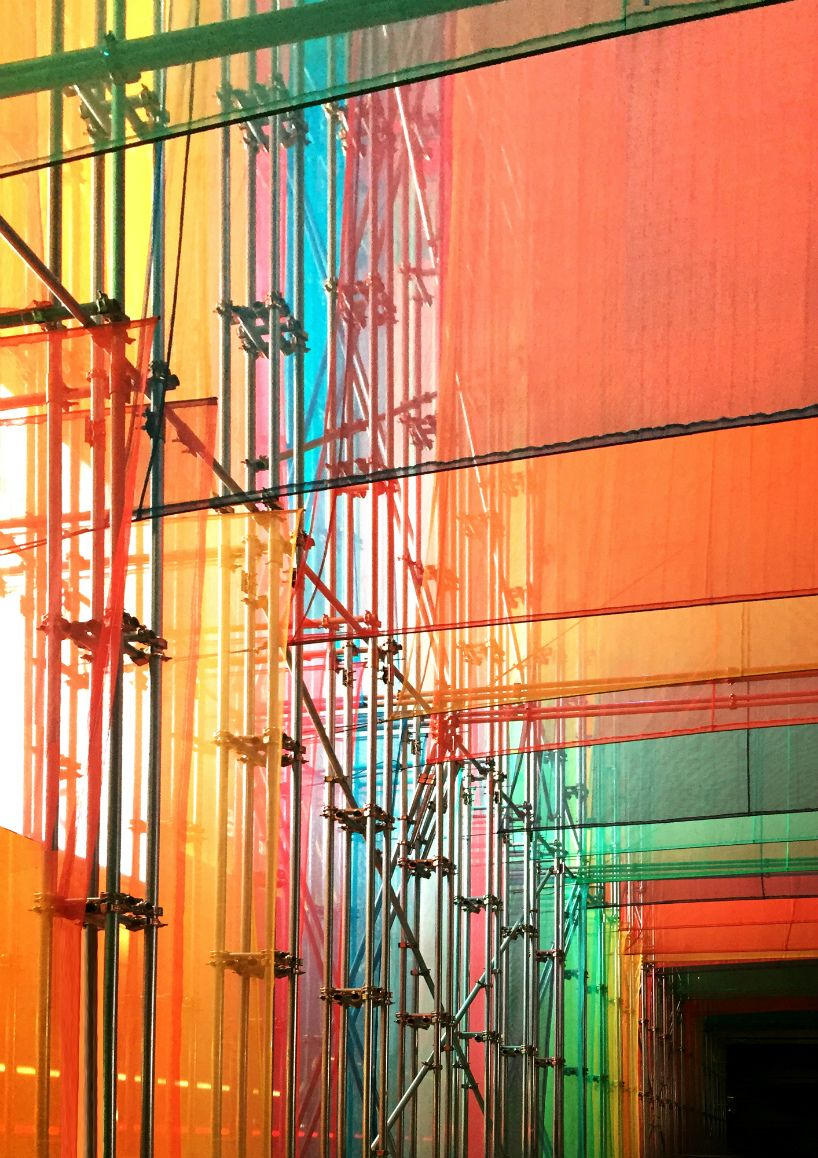 DP architects anchors archifest around technicolor pavilion is part of architecture - drawing inspiration from the archifest's theme of 'exhale', the structure aims to reexamine the often breathless pace of life associated with a dense city