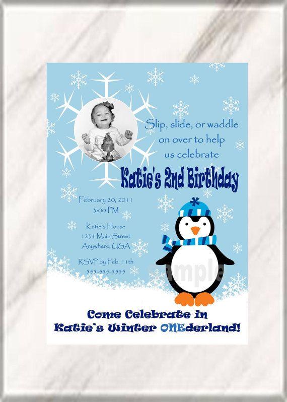 Winter Wonderland Penguin Birthday Party Invitation