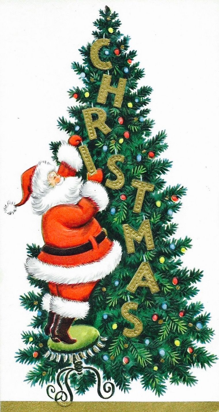 Vintage Christmas Card. Santa trimming tree. Retro Christmas Card ...