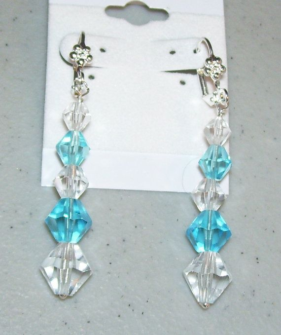 Aquamarine and Clear Czech Bead Leverback Earrings by mommazart, $10.00