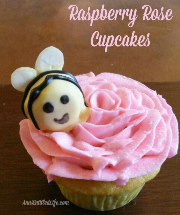 Raspberry Rose Cupcakes - These Raspberry Rose Cupcakes are as delicious as they are adorable. The buzz will 'bee' strong when you serve these Raspberry Rose Cupcakes at your next family function, after dinner dessert or packed in a school lunch box!   http://www.annsentitledlife.com/recipes/raspberry-rose-cupcakes/