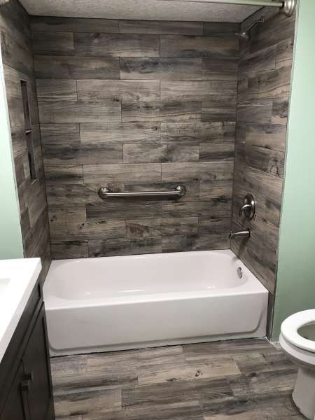 Bp Smith Construction Finished Wood Look Tile Surround And