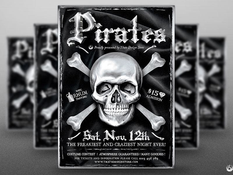 Pirates Party Flyer Template Party flyer - black and white flyer template