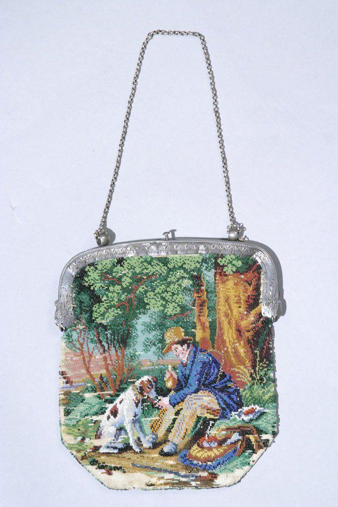 Beaded Purse, Man & Dog, Circa 1830 -1840 Beaded