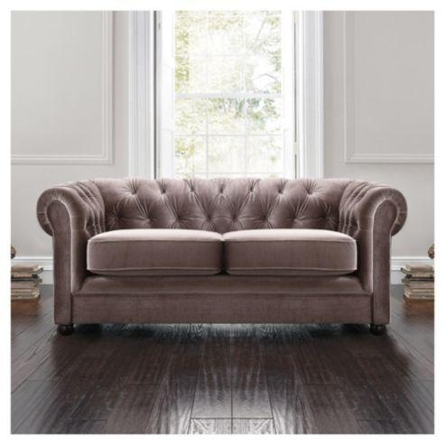 Chesterfield Velvet Effect Small Sofa, Mink