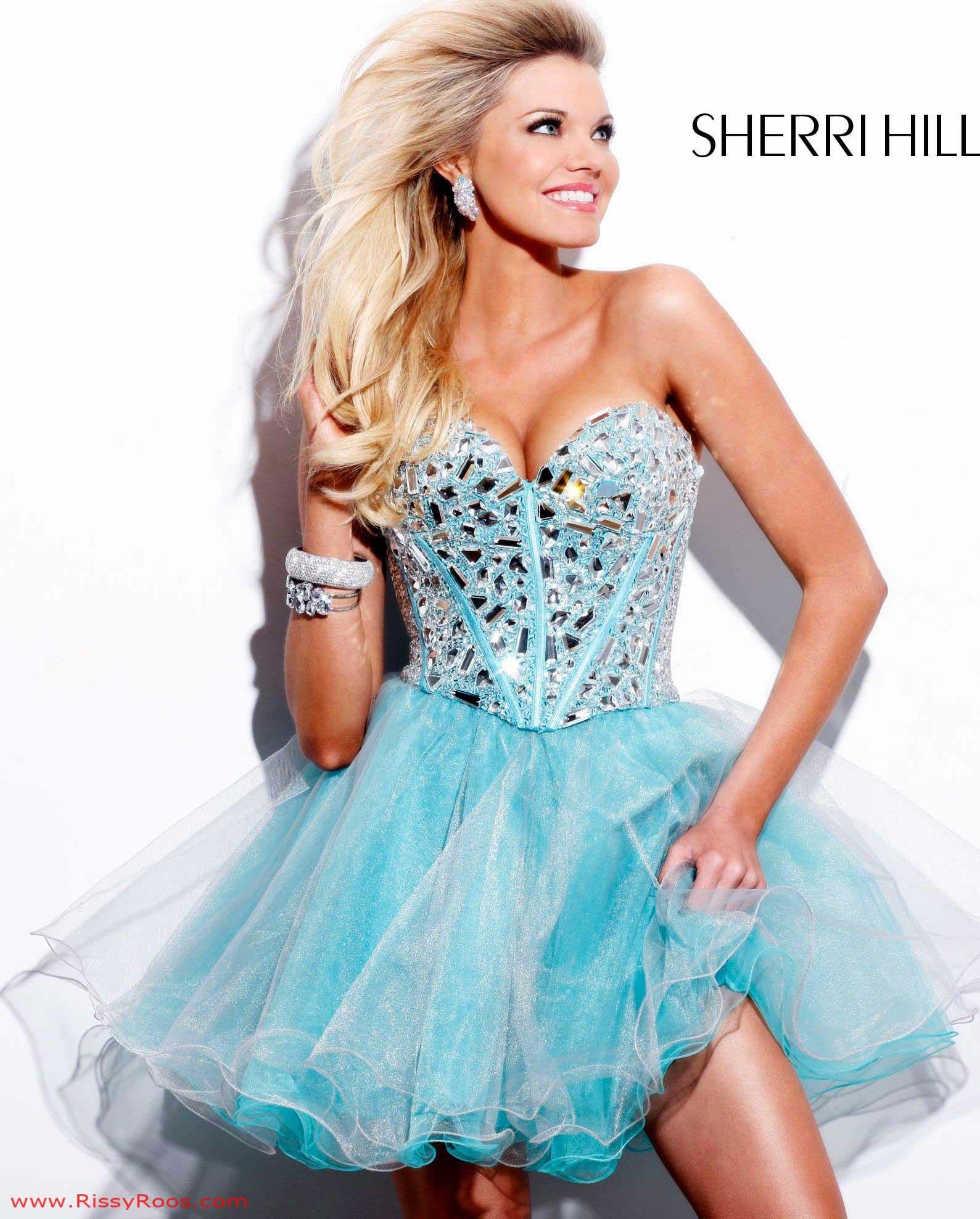Sherri Hill Prom Dress Style 1403 available in Aqua/Silver, Nude ...