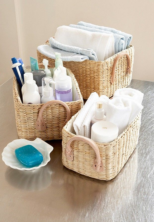 soft rush wicker baskets to put on top of shoe bench in closet - Bathroom Baskets