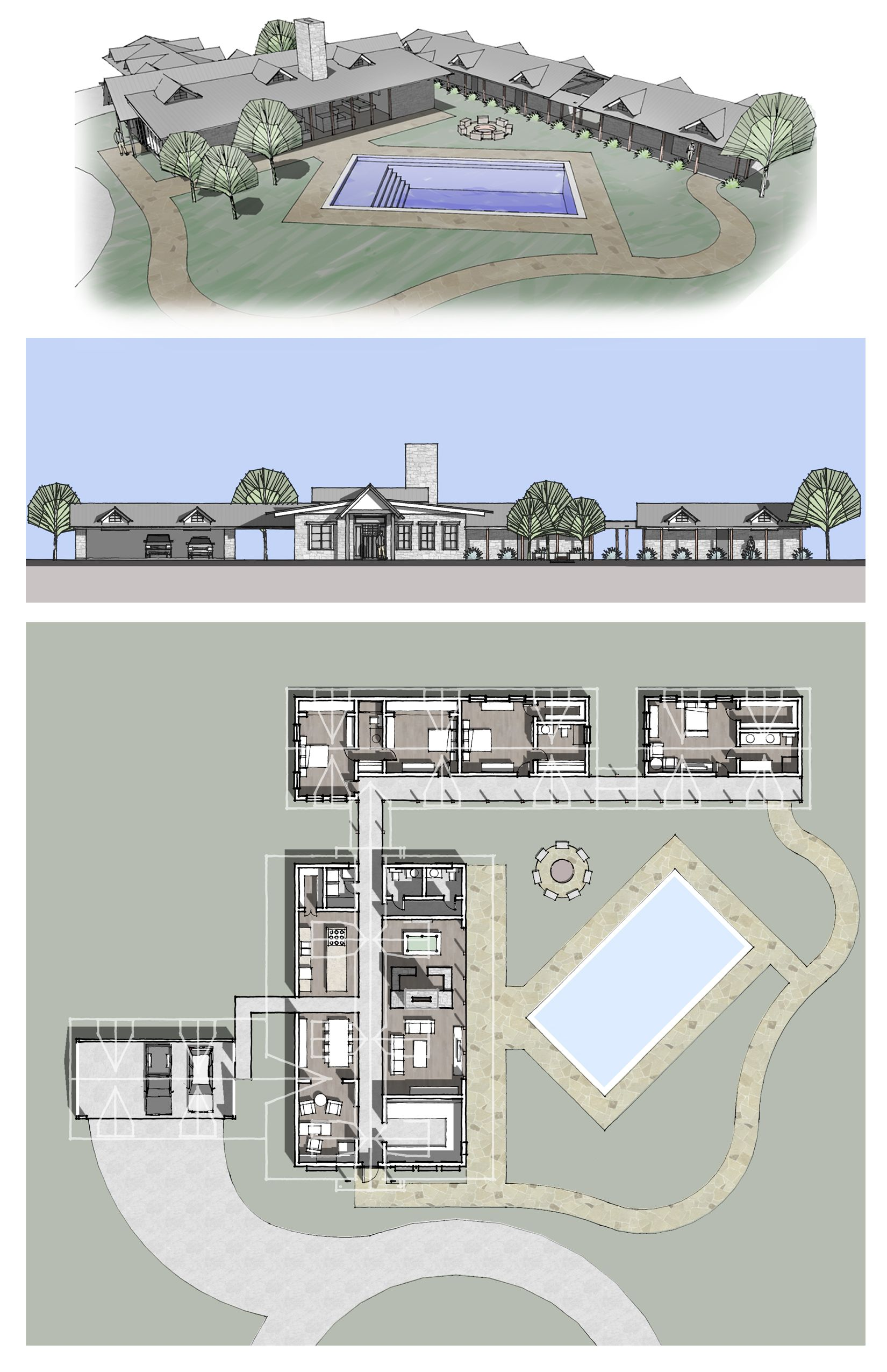 Various Google Sketchup Architectural Renderings Of A Ranch Style House Perspective Elevation Plan View Architectural Floor Plans Floor Plans How To Plan