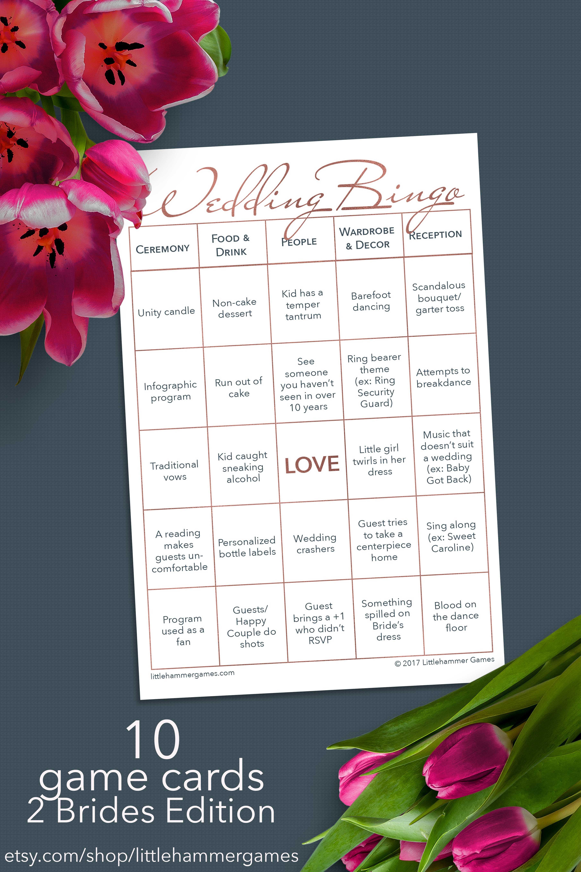 10 Printable Wedding Bingo Game Cards 2 Brides Edition The Etsy Wedding Reception Games Wedding Bingo Wedding Games