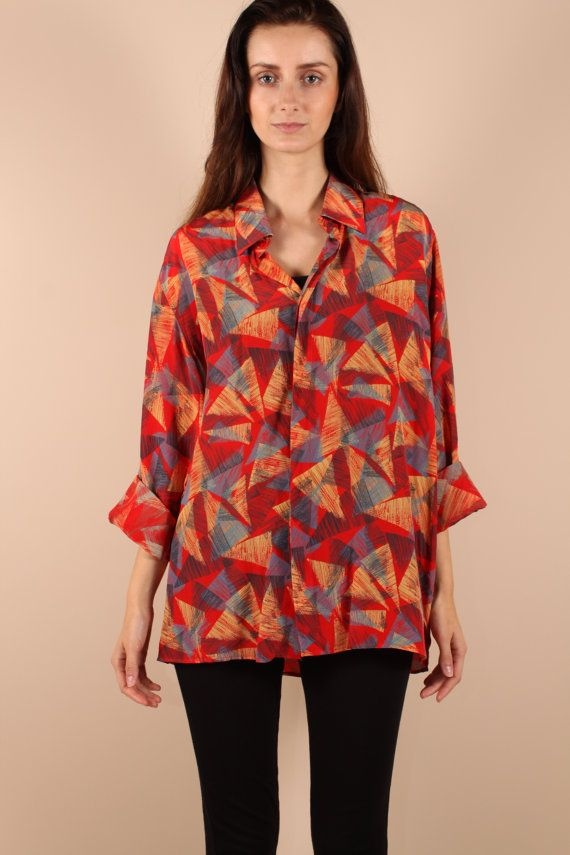 f3173ca0 Vintage 80s 90s // geometric triangle silk blouse // slouchy ...