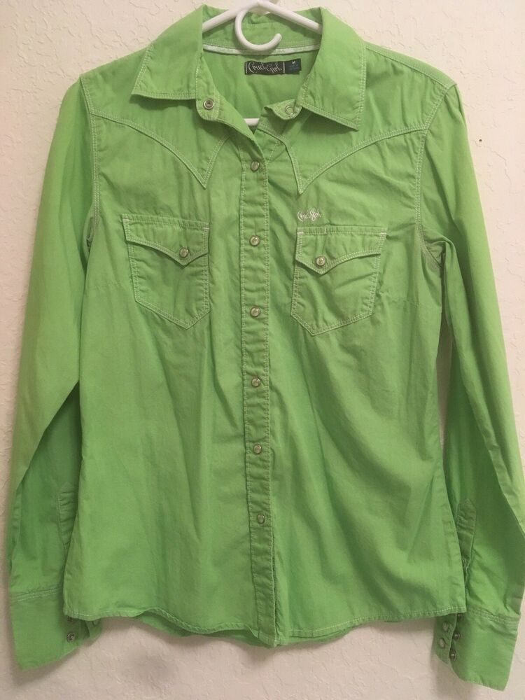 e44676b89ab29a Cruel Girl Womens M Medium Lime Green Pearl Snap Long Sleeve Western Shirt # fashion #