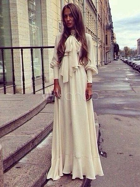 Chiffon Maxi Dress Bow Tie Collar Long Sleeve Vintage Style Long Dress ac0d45bd05d0