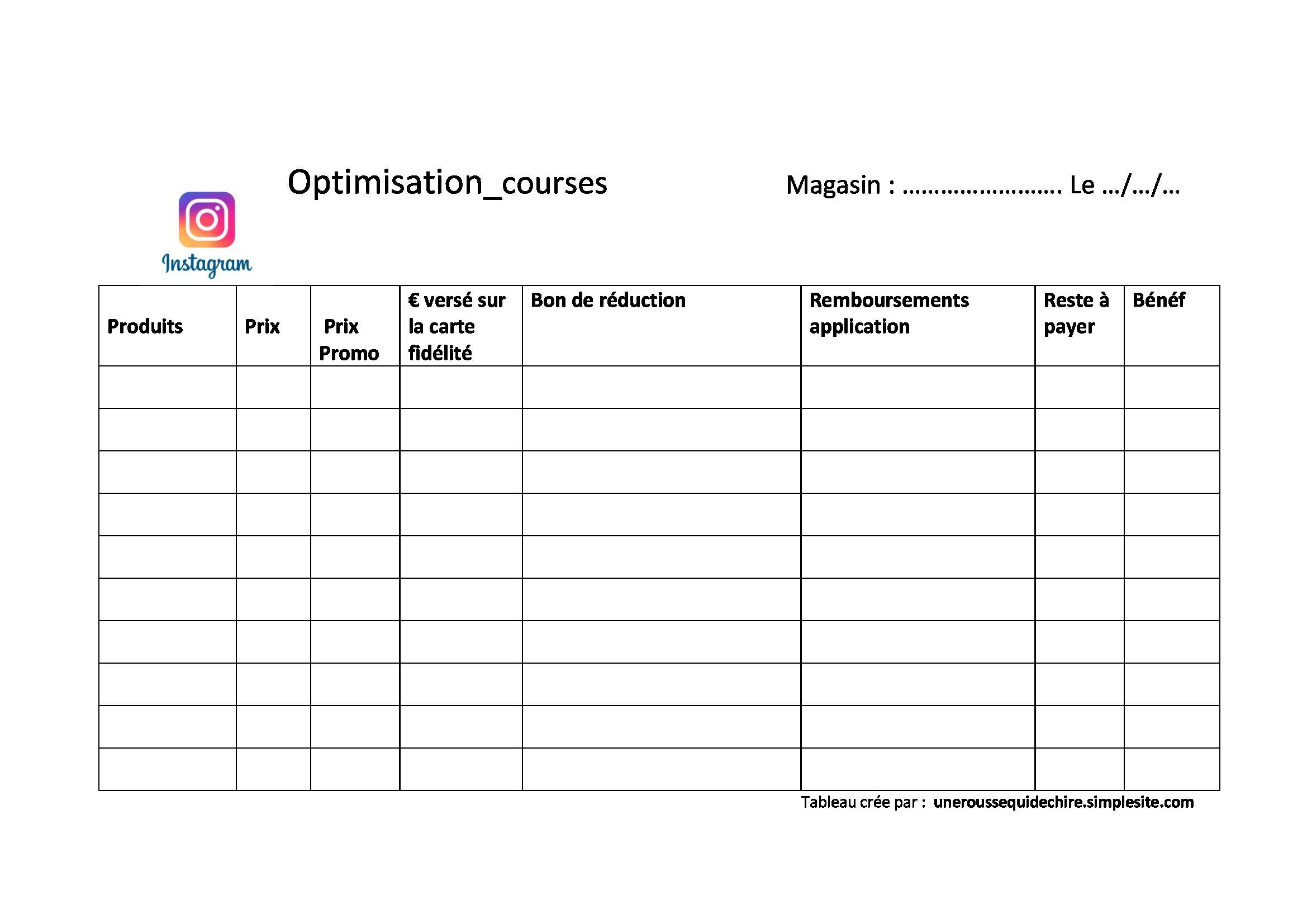 Une Rousse Qui Dechire Tableau D Optimisation Imprimable Tableau Course Liste De Courses Imprimable