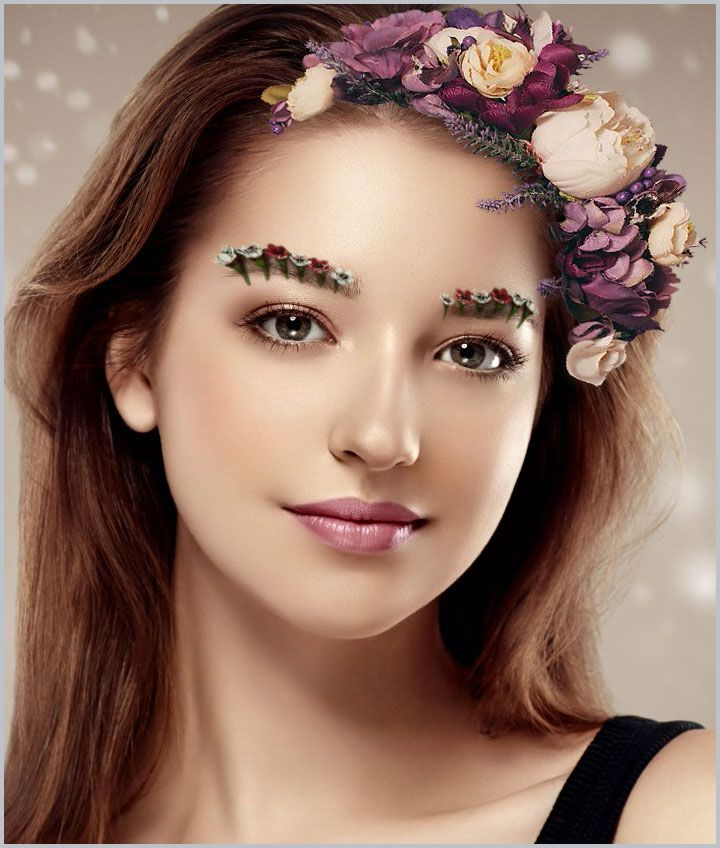 Flower eyebrows, purple flower crowns. Try this look on