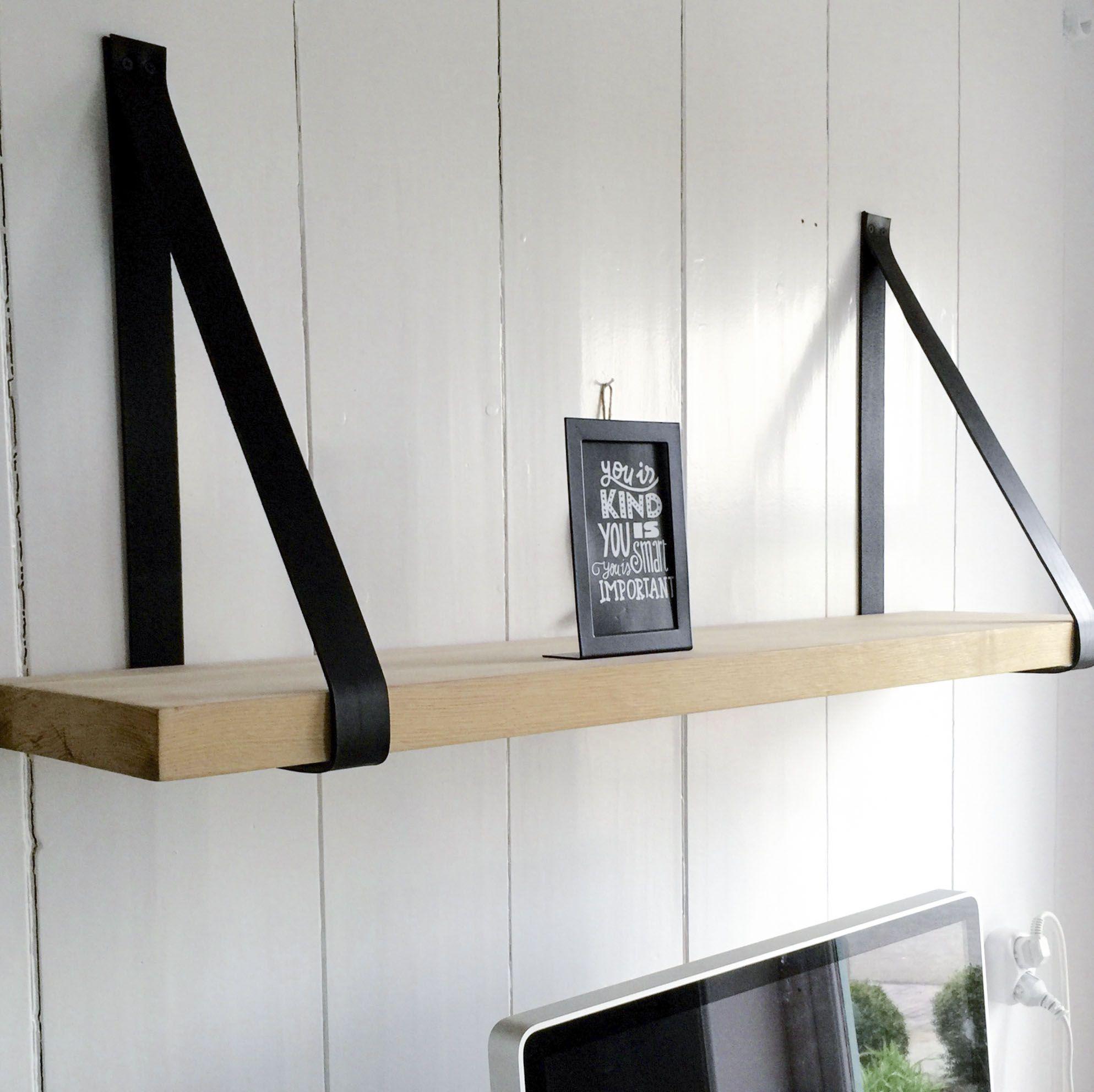 Mooie Houten Wandplank.Wand Plank Losse Plank Eiken 4cm Lederen Houder Superieur