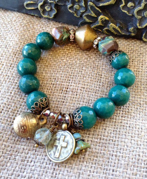 Green Jade Stretch Bracelet // Ocean jasper // Antique brass ...