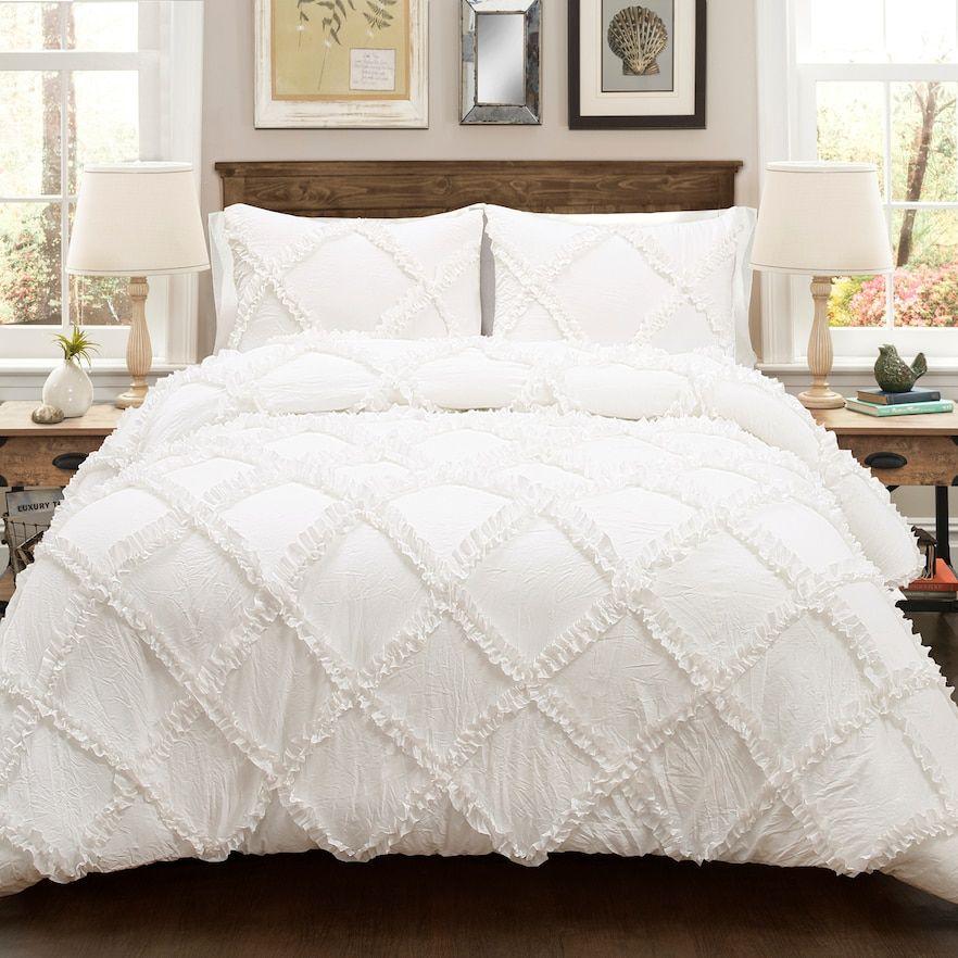Lush Decor Ruffle Diamond Comforter Set White King In 2020