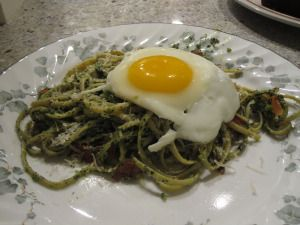 Pesto Linguine with Prosciutto