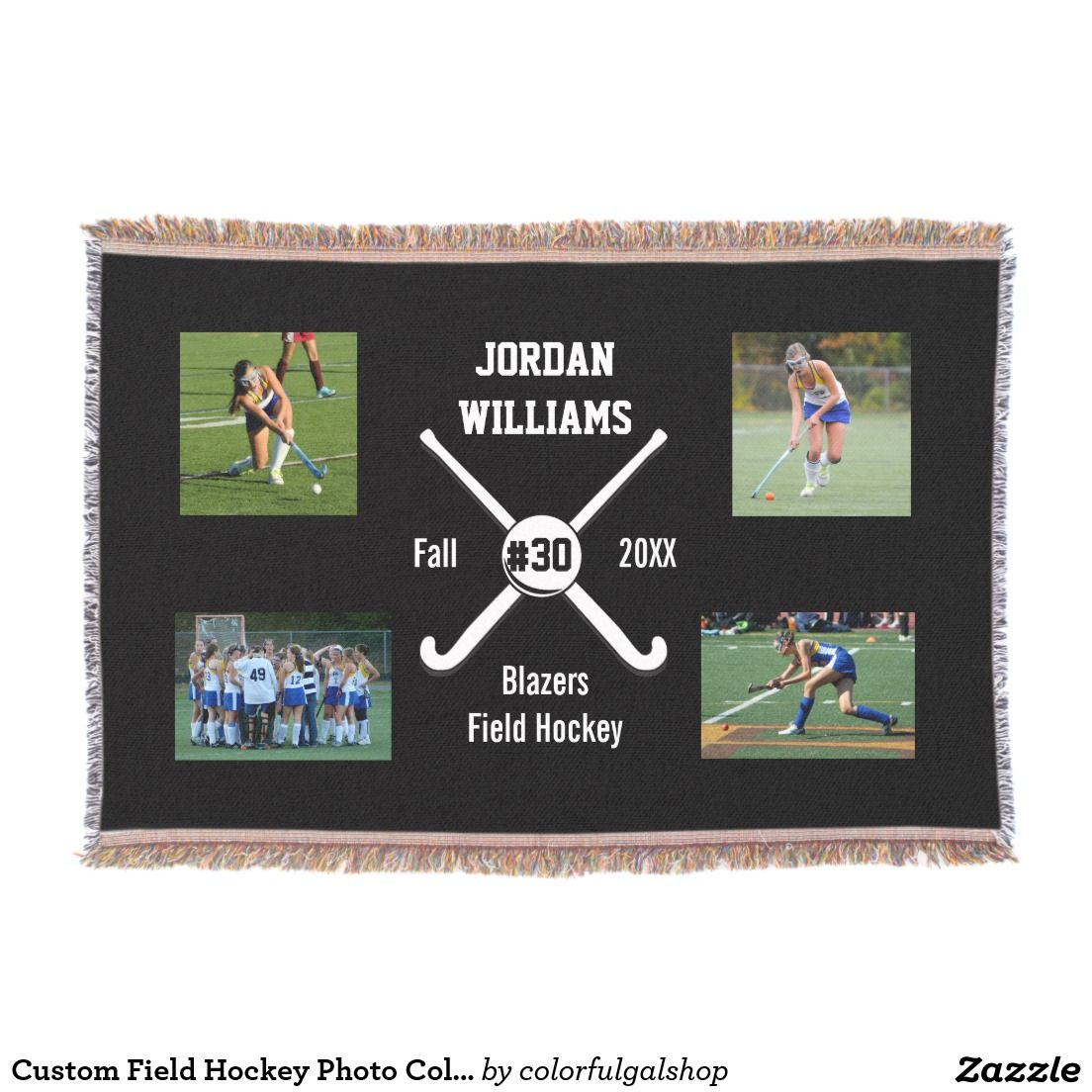 Custom Field Hockey Photo Collage Name Team Number Throw