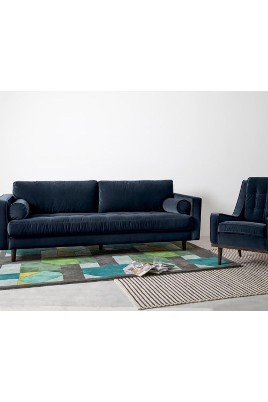 Made Navy Cotton Velvet Sofa In 2020 Sofa 3 Seater Sofa Cotton Velvet