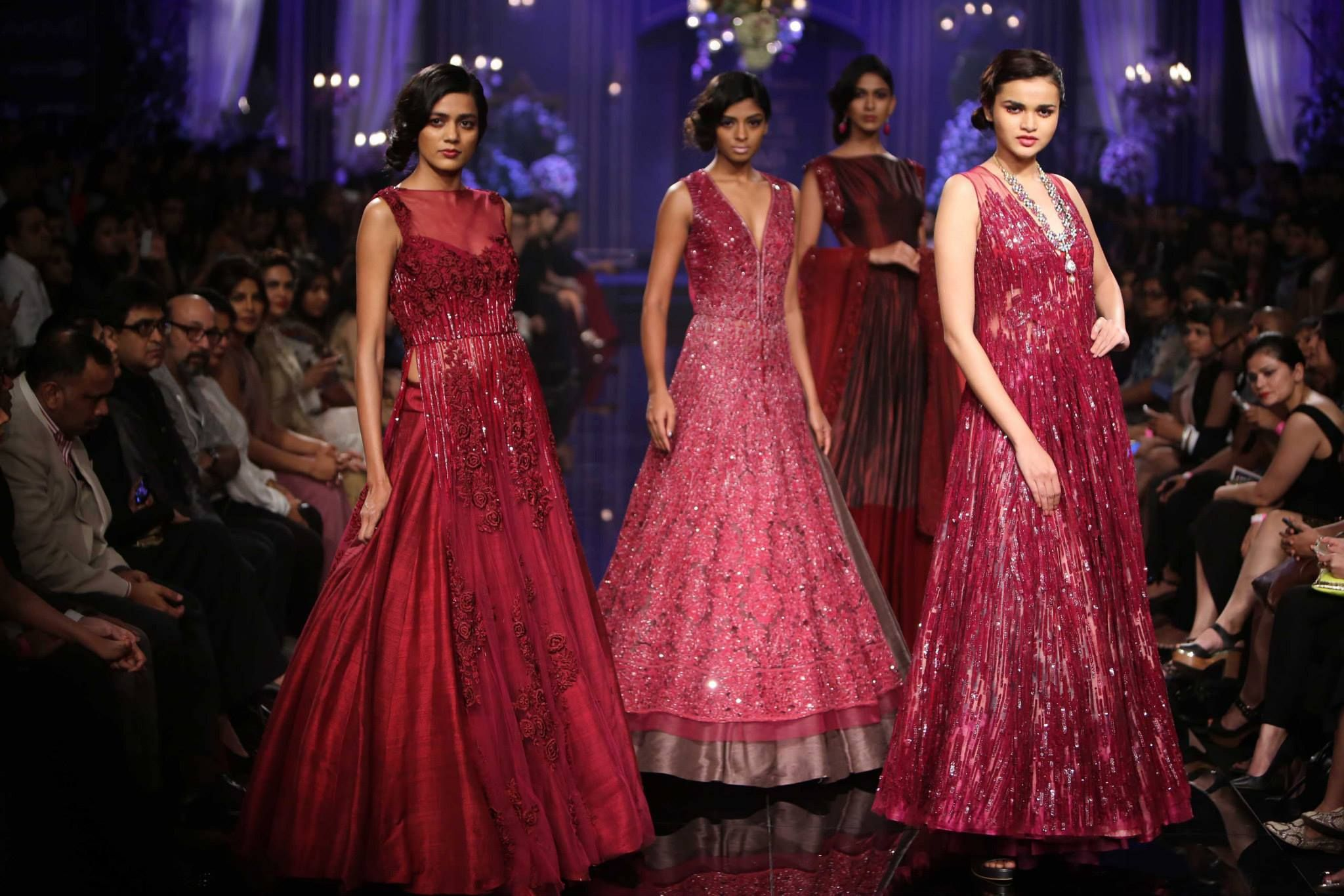 Maroony red gownsdresses by manish malhotra as seen at lakme