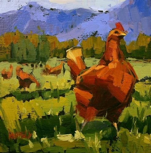 "Daily Paintworks - ""Columbia Gorge Chickens"" - Original Fine Art for Sale - © Cathleen Rehfeld"