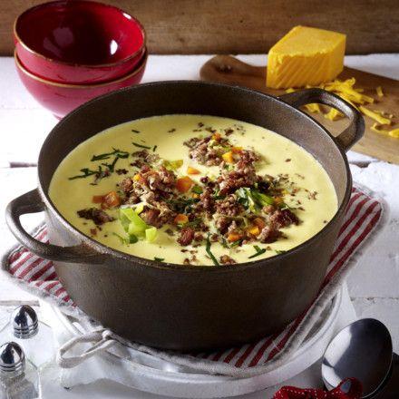 Käse-Porree-Suppe mit Hack-Topping Rezept   Porree suppe, Käse und ...