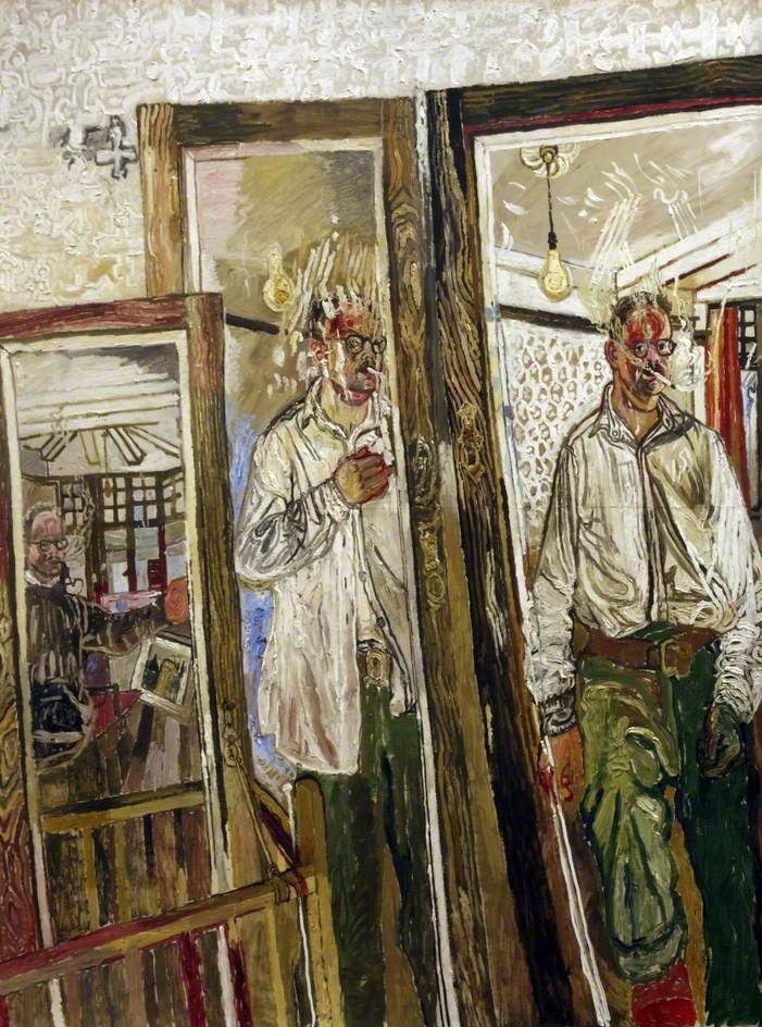 Three Self-Portraits with a White Wall, 1957 by John Bratby (British 1928–1992)