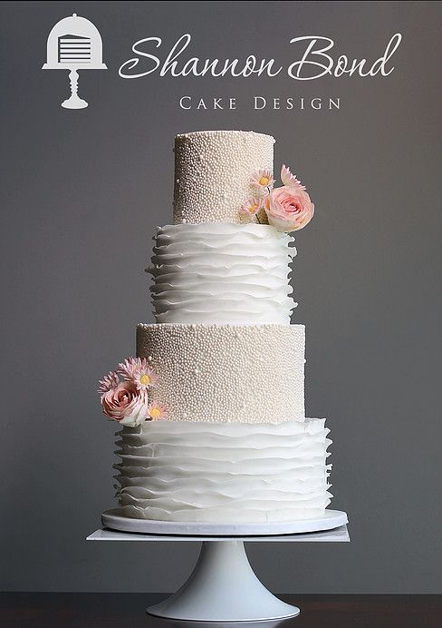 Pearl And Ruffle Wedding Cake White With Gumpaste Flowers By Shannon Bond