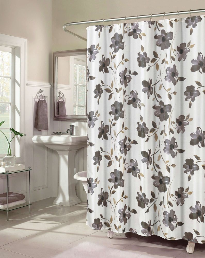 Premium Floral Shower Curtain Set With 12 Hooks Gray White