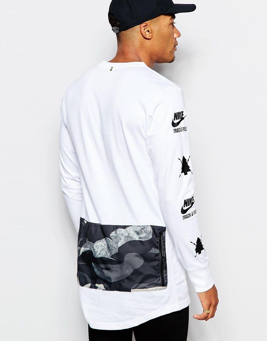nike  ru lungo di manica lunga camicia (tramite calci) uomini
