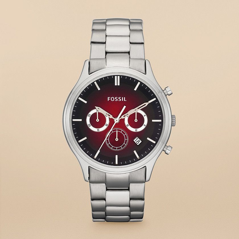 MENS FOSSIL WATCH- STAINLESS STEEL W  RED FACE  45f6198c73