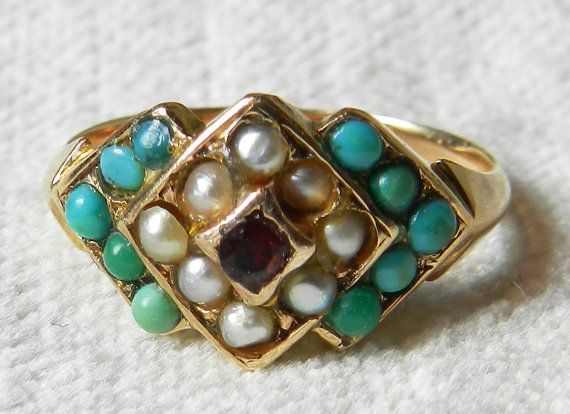 Victorian Turquoise Ring 1800s Aesthetic Era 15K UK Rose Gold Seed