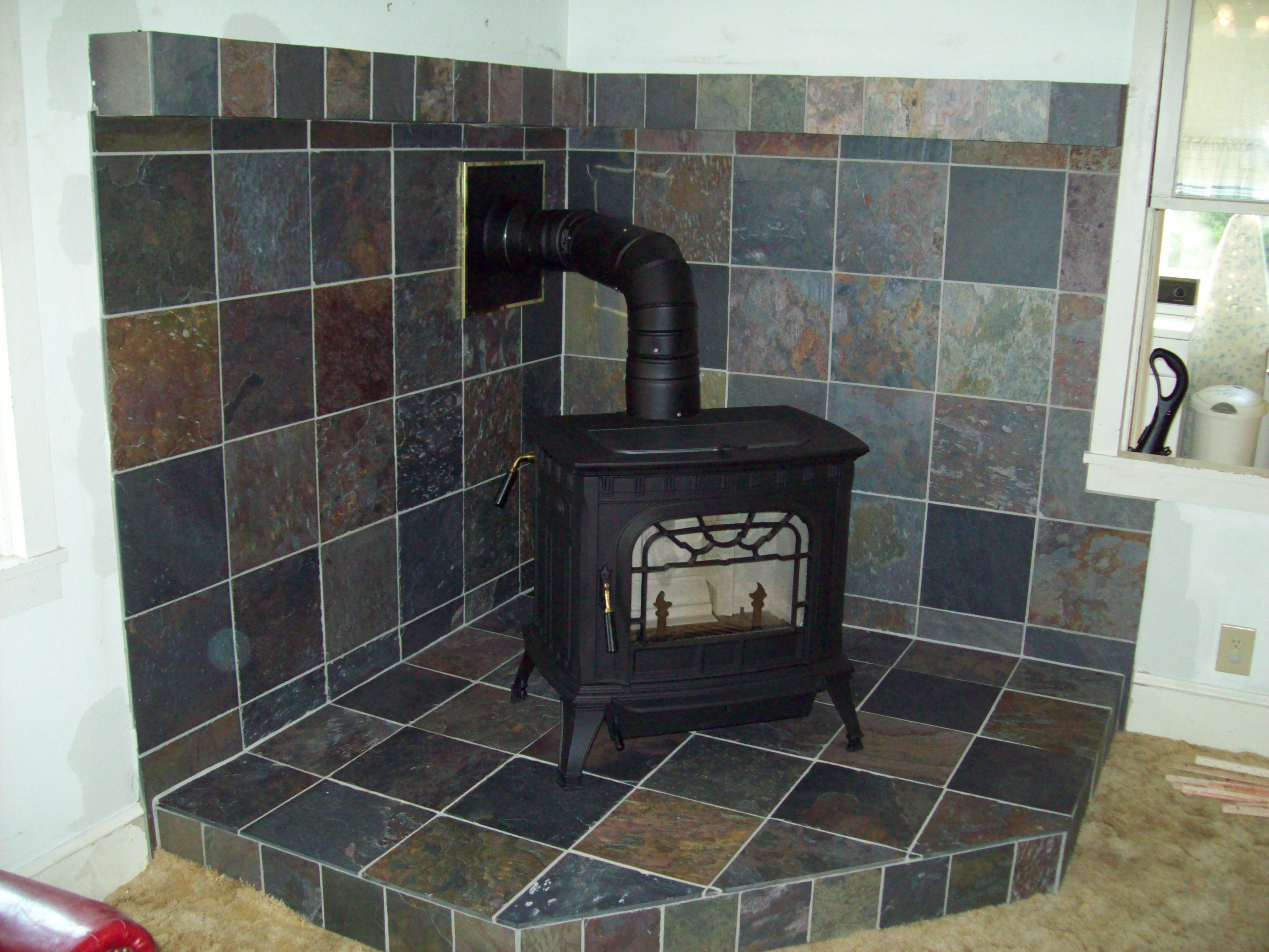 Wood stove surround ideas - Woodstove Surround Slate