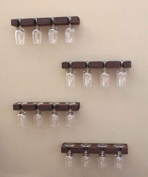 Rustic Wine Glass Rack Rail Hanging Stemware Glass Holder
