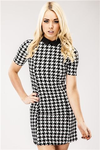 Sabrina Dogtooth Bodycon Dress at misspap.co.uk Can't wait to buy this! Out of stock at the mo.