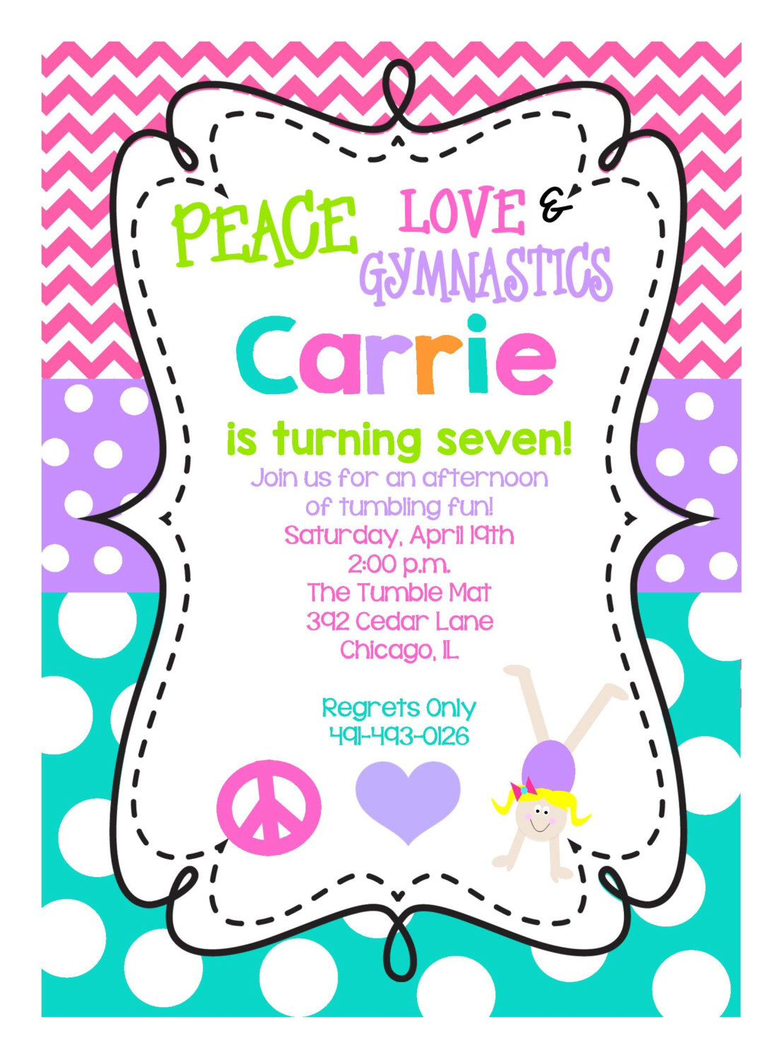 NEW...Personalized Girls\' Peace Love Gymnastics Birthday Party ...