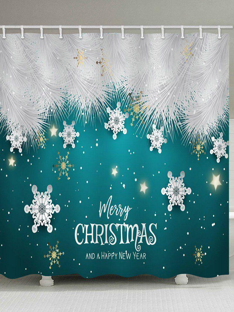 Merry Christmas Snowflake Waterproof Bath Shower Curtain