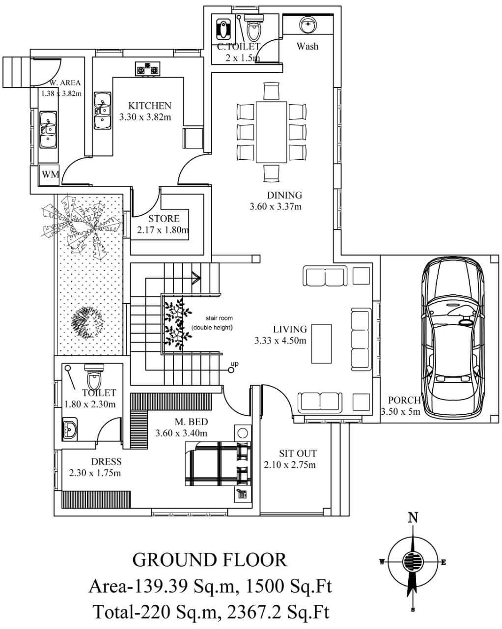 D'life home interiors kochi kerala building plan for a  sft house  residential projects